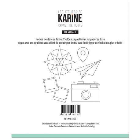 Pochoir Broderie Carnet de Route Kit Voyage -Les Ateliers de Karine