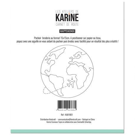 Pochoir Broderie Carnet de Route Mappemonde -Les Ateliers de Karine