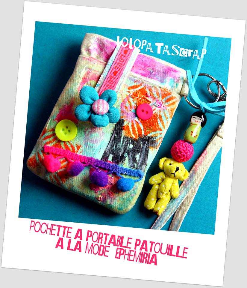 pochette portable avec ours tissu -ephemeria by LoloPatascrap