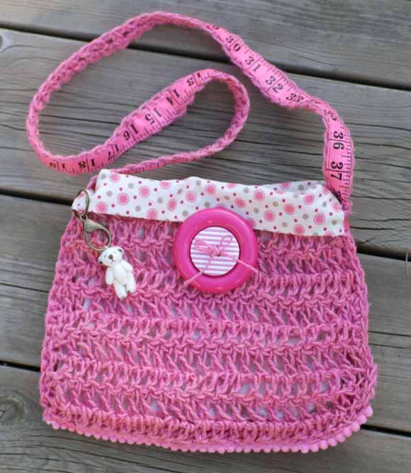 Sac crochet ficelle jute rose-éphéméria-By Edith R