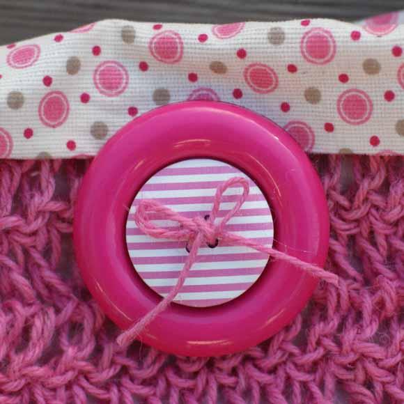 sca crochet ficelle de jute rose -bouton XXL-éphéméria