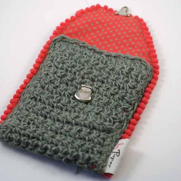 pochette en ficelle de jute crochet n°7-fermeture cartable- matériel Éphéméria