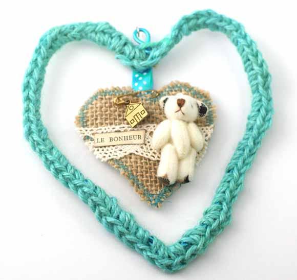 coeur en ficelle de jute turquoise et toile de jute-mini ours-Éphéméria