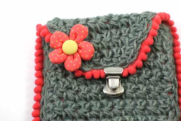 pochette en ficelle de jute crochet n°7- fleur tissu-matériel Éphéméria