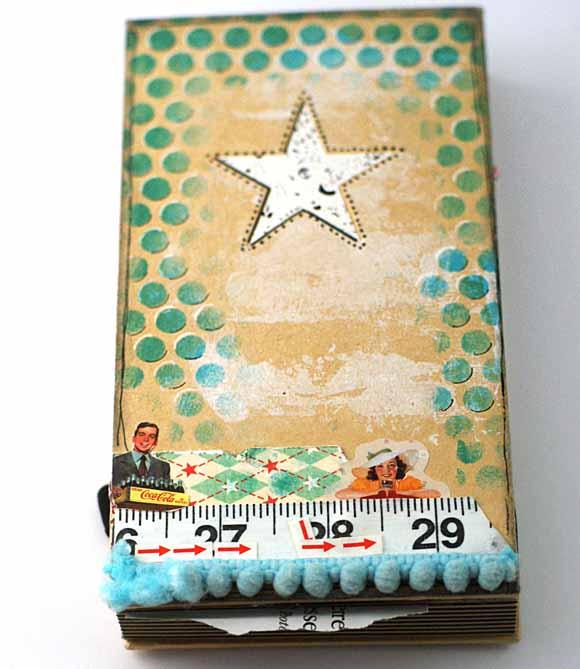 carnet étoile éphéméria - mixed media By EdithR- ruban pompon, Mètre de couturière, stickers vintage éphéméria