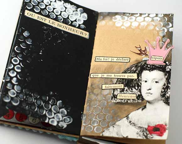 art journal -carnet kraft et noir éphéméria - EdithR