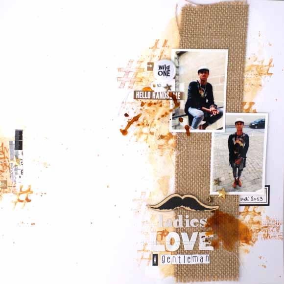page scrapbooking pour éphéméria by Zyan- Moustache bois, jute...