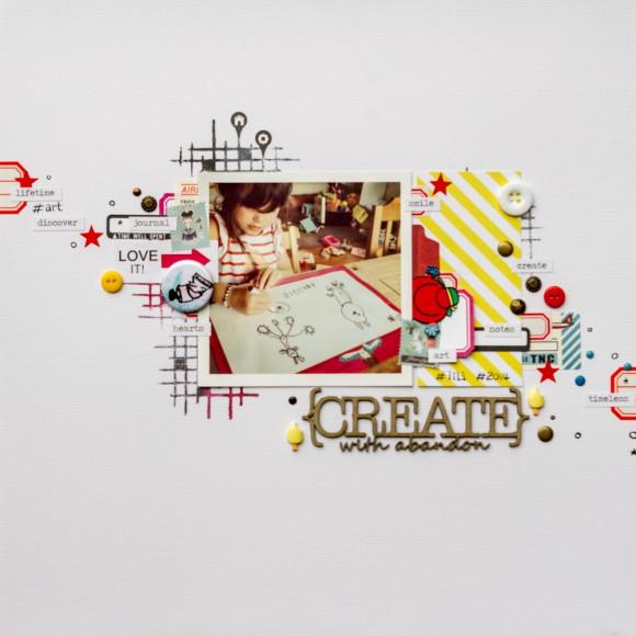Cardstock, encre, pastilles, boutons, étiquettes et mini glaces Ephéméria by Luckie