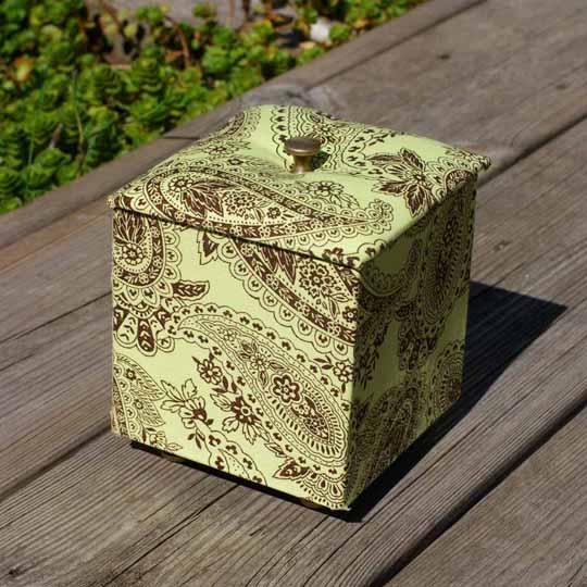 Cartonnage boite tissu-poignées boutons bronze Éphéméria- By EdithR