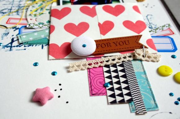 Enveloppe, pastilles, étoile tissu, dentelle et étiquette faux cuir Ephéméria by Carine