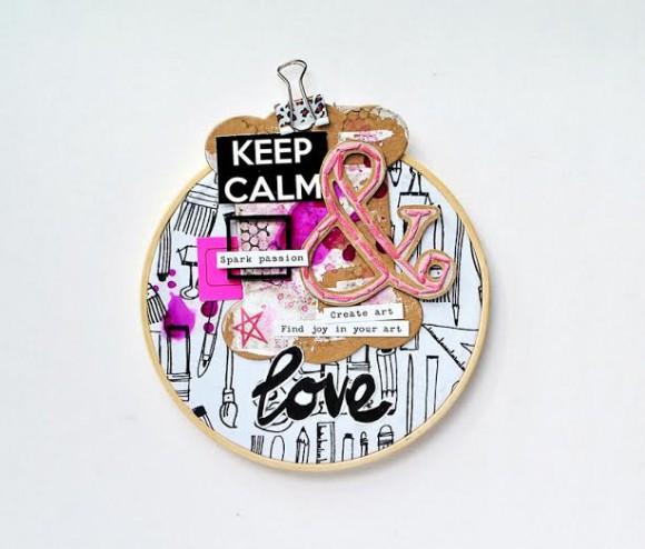 Cercles à broder, tag, pince double-clip et étiquette fluo Ephéméria by Zyan