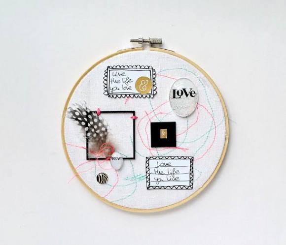 Cercles à broder, tag et cabochons Ephéméria by Zyan