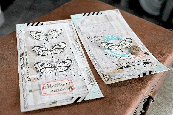 Cardstock, jeton de loto vintage, encre de Chine et sergé étiquettes Ephéméria by MiniMlescrap