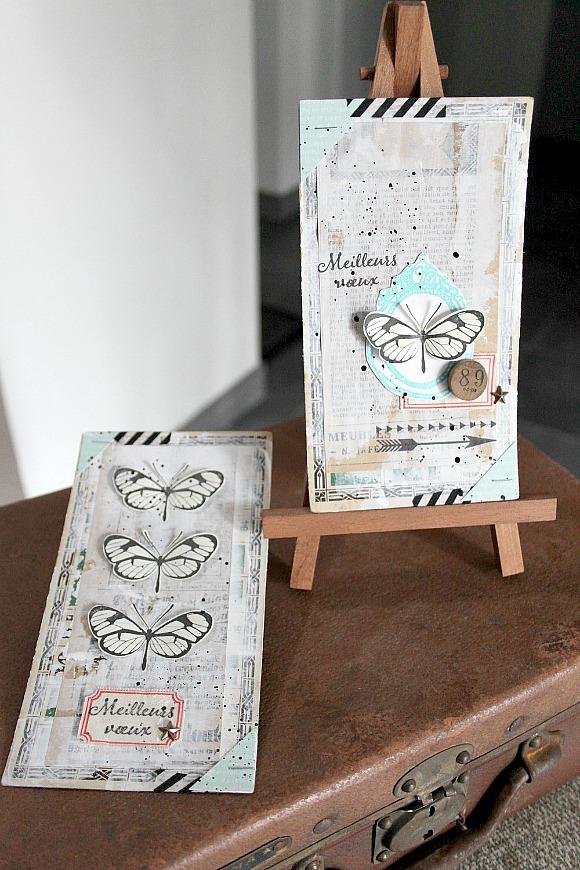 Cardstock, sergé étiquettes, jeton de loto vintage et étoiles dorées Ephéméria by MiniMlescrap
