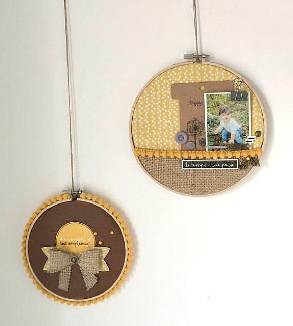Cercle à broder, tag, bouton, pince, pastilles, breloques, galon pompons et jute Ephéméria by MiniMlescrap