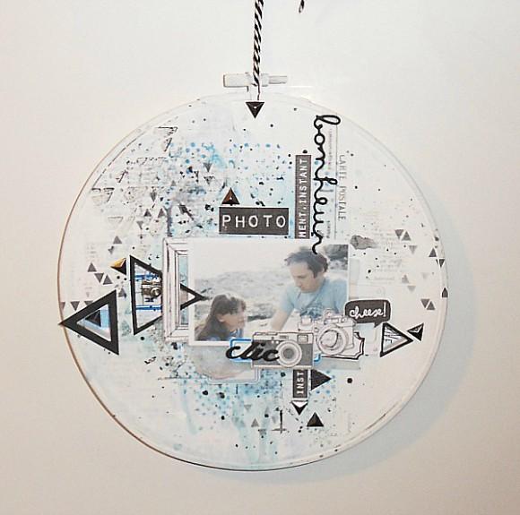 Cercle à broder, cardstock, mousse, étiquettes, pastilles, breloque et ruban Ephéméria by Mag de Rose Anis