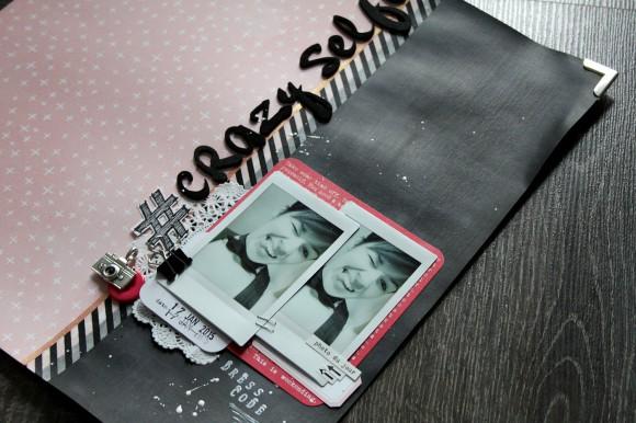 Cardstock, coins métal, tampon hachstag, bouton et pince Ephéméria by MiniMlescrap