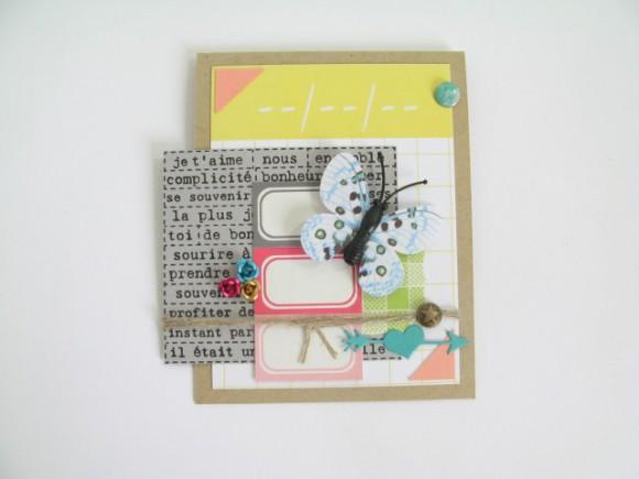 Papiers, stickers et die 4h37, papillon, pastilles, roses métal et bulle tissu Ephéméria by Julia Coron