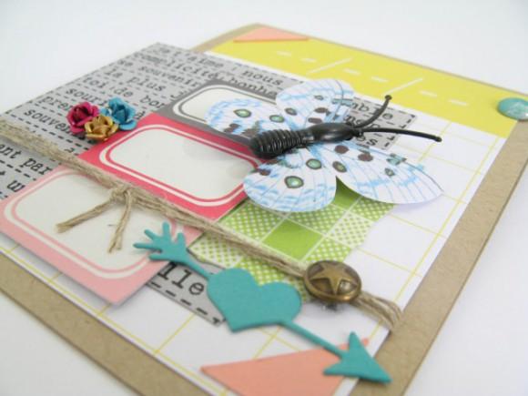 Cartes et papiers et die 4h37, papillon, pastilles, roses métal et bulle tissu Ephéméria by Julia Coron