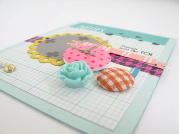 Cartes et papiers 4h37, bouton, pastilles rose résine, scotch et bulle tissu Ephéméria by Julia Coron