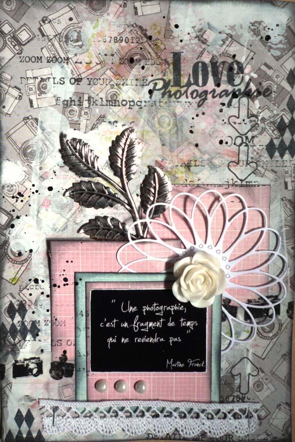 Papiers 4h37, rose et feuillage argent Ephéméria by KrisMay