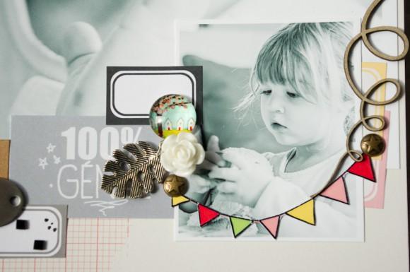 Papier, vignette, stickers 4h37, rose résine, pastille et cabochon Ephéméria by Luckie