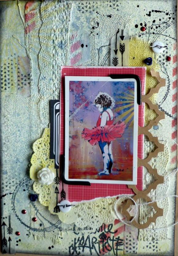 Tissu ancien, dentelle, rose résine, étiquette, roses métal, boutons et pastilles Ephéméria by Kris May