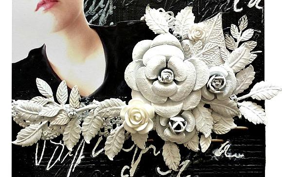 Embellissements métal et roses résine Ephéméria by Corinne Lagneux