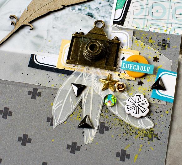 Papiers et éiquettes 4h37, étiquettes noires, boutons, cabochons, triangles, roses à coller et breloque APN Ephéméria by Luckie