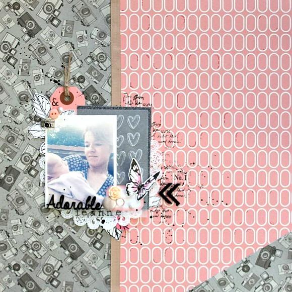 Papiers 4h37, tampons L'Encre & l'Image, breloque, boutons, pastilles, étiquette, rose résine, cabochon, bouton feuille, ruban et bulles cuir Ephéméria by MiniMlescrap