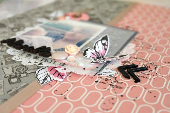 Papiers 4h37, tampons L'Encre & l'Image, breloque, boutons, pastilles, étiquette, rose résine, cabochon, bouton feuille et bulles cuir Ephéméria by MiniMlescrap