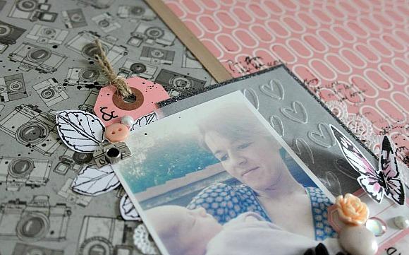 Papiers 4h37, tampons L'Encre & l'Image, breloque, boutons, pastilles, étiquette, rose résine, cabochon et bulles cuir Ephéméria by MiniMlescrap