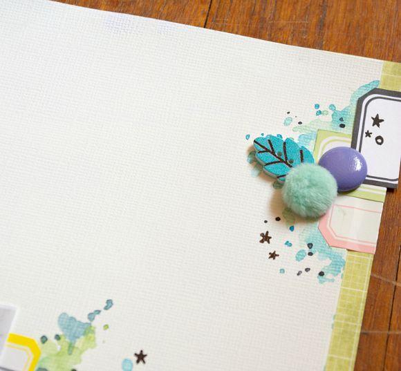 Cardstock, bulles cuir et peluche, étiquettes et bouton feuille Ephéméria by Luckie