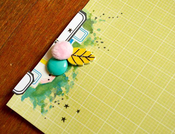 Papiers 4h37, étiquettes, bouton feuille, bulles cuir et peluche Ephéméria by Luckie