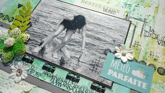 Papiers et vignettes 4h37, tampons L'Encre & l'image, cardstock blanc, métal, cabochon, rose résine et pastilles Ephéméria by Krismay