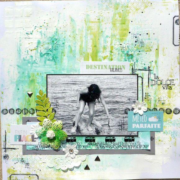 Papiers et vignettes 4h37, tampons L'Encre & l'image, embellissements métal et résine Ephéméria by Krismay