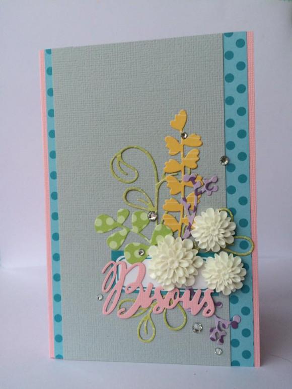 Papiers 4h37, étiquette, dahlias blancs, cardstocks et strass Ephéméria by Céline Féebelle