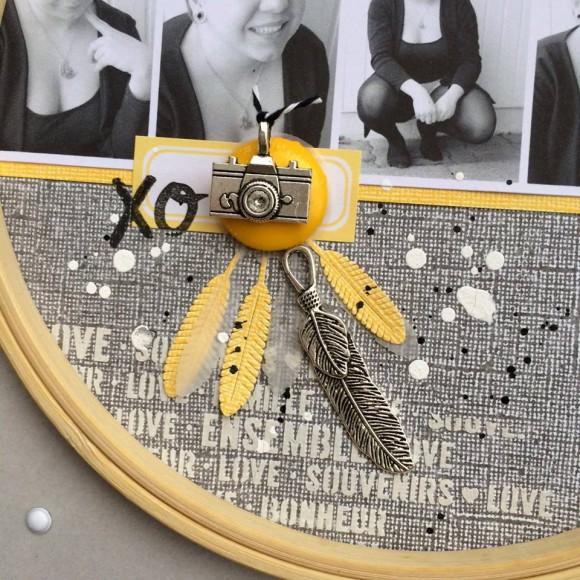 Cercle à broder, papiers, étiquette, breloques, bouton et twine Ephéméria by Tribucosta