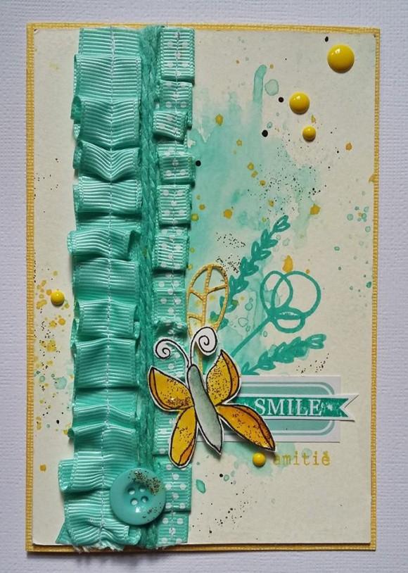 Rubans, ficelle de jute turquoise, enamel dots et papiers Ephéméria by Cricri04