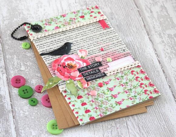 Rubans et dentelle, étiquettes roses, chaînette noire, cardstock kraft, oiseau vintage et dots Ephéméria by Mackenzie