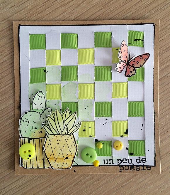 Tampons L'Encre et l'Image, encreur Dye Aladine, boutons et rubans Ephéméria by MiniMlescrap