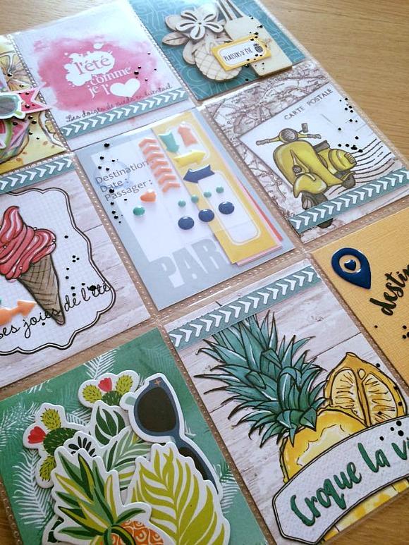 """Papiers collections """"Grenadine et Menthe à l'eau"""" de L'Encre et l'Image et """"Carte Postale"""" des Papiers de Pandore, dots """"voyage"""" Ephéméria by Minimlescrap"""
