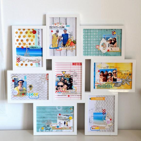 Papiers et tampons L'Encre & l'Image, papier 4h37, enmel, étiquettes, cadre résine, boutons et mètre ruban Ephéméria by Marie Gamiz