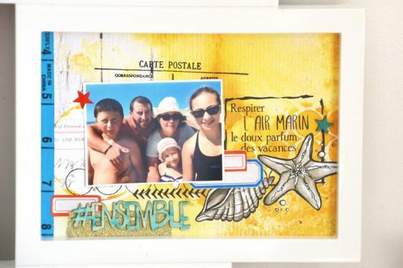Papiers et tampons L'Encre & l'Image, papier 4h37, enmel, étiquettes, cadre résine, boutons, mousse pailletée et mètre ruban Ephéméria by Marie Gamiz