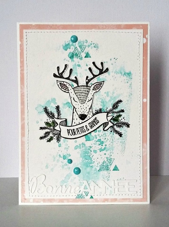 Papiers et tampons Les Kits de Karine, encreur Aladine, die DIY & Cie, cardstocks et enamel Ephéméria by Cricri