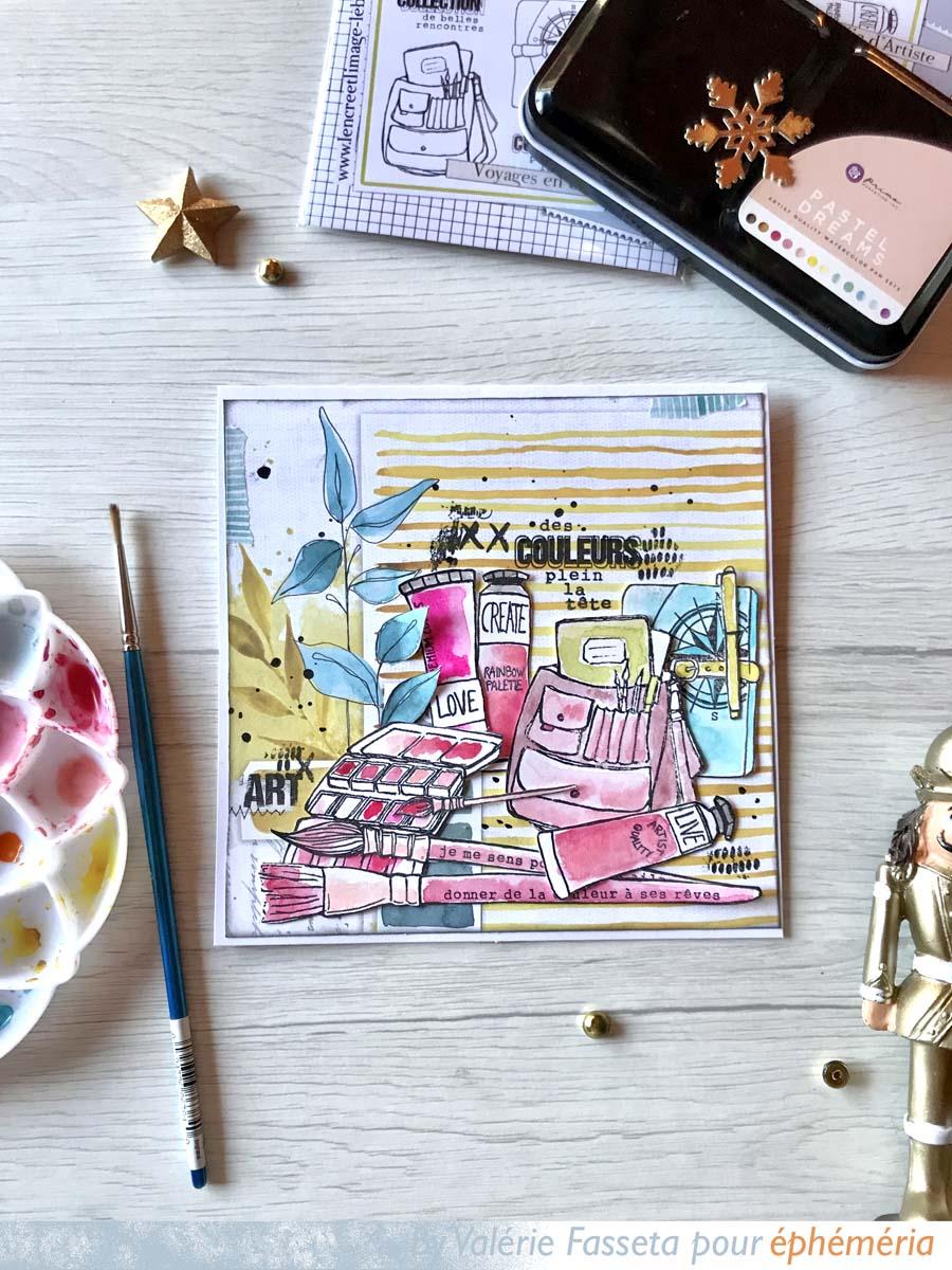 carte par Vava rose et jaune pour éphéméria