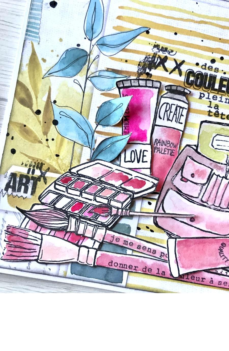 carte par Vava rose et jaune pour éphéméria - détail