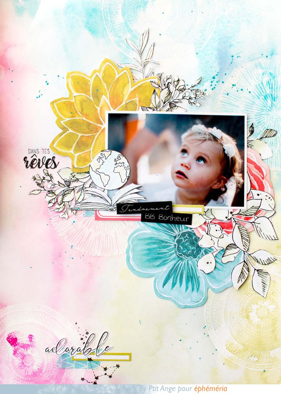 Page de scrapbooking par Ptit Ange pour éphéméria