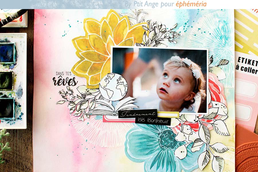 Page de scrapbooking par Ptit Ange pour éphéméria - détail