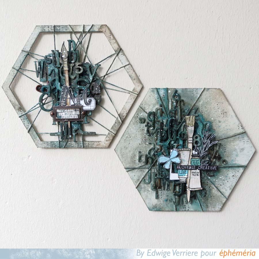 Cadres hexagonaux mix-media par Edwige pour éphéméria